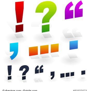 Satzzeichen - Ausrufezeichen, Fragezeichen, Anführungszeichen, Komma, Punkt, Strichpunkt