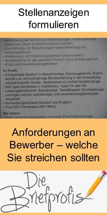 Stellenanzeigen formulieren - Anforderungen an Bewerber