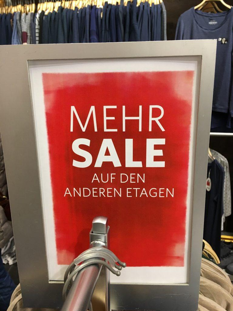 Mehr Sale - deutsch-englischer Unsinn